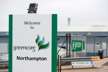 A welcoming sign is seen in front of a Greencore sandwich factory, in Northampton
