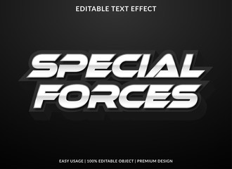 Fototapeta special forces text effect template with metalic style and bold font concept use for brand label and logotype sticker obraz