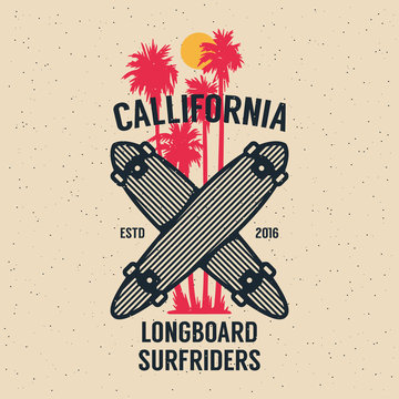 Long Board Skateboarding, Design Element in Vintage Style for Logotype, Label, Badge and other design. Vector illustration