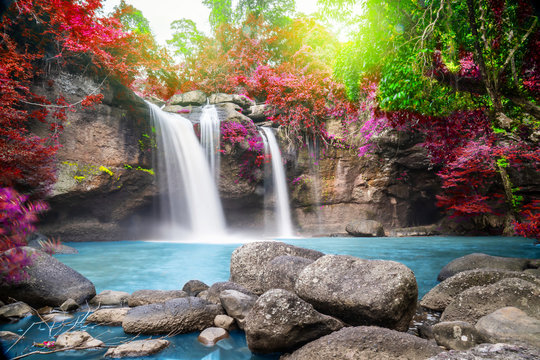 Travel to the beautiful Colorful majestic waterfall in national park forest during autumn, soft water of the stream in the natural park