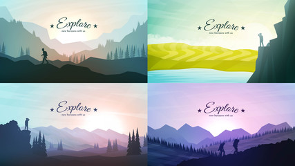 Printed kitchen splashbacks White Vector landscapes set. Travel concept of discovering, exploring and observing nature. Hiking. Adventure tourism. The guy watches nature, climbing to the top, friends going hike