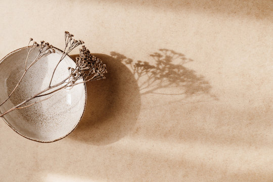 Minimalist ceramic bowl with dry plant over kraft paper background. Copy space, flat lay.