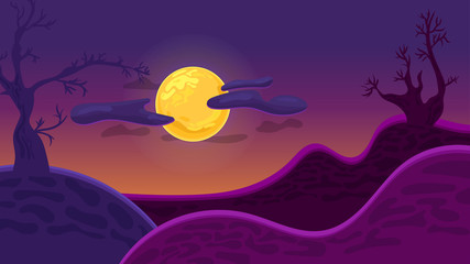Night landscape with abstract mountains and gloomy trees. Full moon with clouds. Background for Halloween greeting card, poster or invitation to a party. Vector dark illustration.