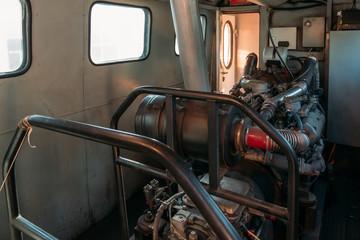 Diesel engine inside the train locomotive
