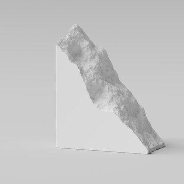 Breakaway piece of a triangular white stone slab. 3d rendering