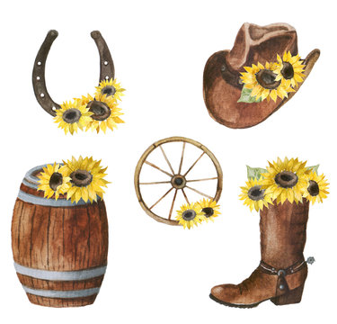 Wild west watercolor set. Collection with cowboy hat, sheriff badge, boots, barrel, wheel, horseshoe, cactus, revolver. Sunflower set. Floral and wild west set