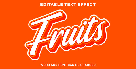 Wall Mural - Text effect style fruits