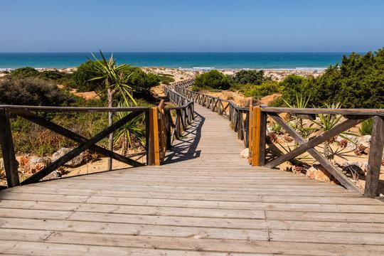 Wooden walkway that gives access to La Barrosa beach in Sancti Petri, Cadiz