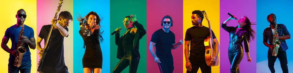 Collage of portraits of 8 young emotional talented musicians on multicolored background in neon light. Concept of human emotions, facial expression, sales. Playing guitar, singing, dancing, jumping.