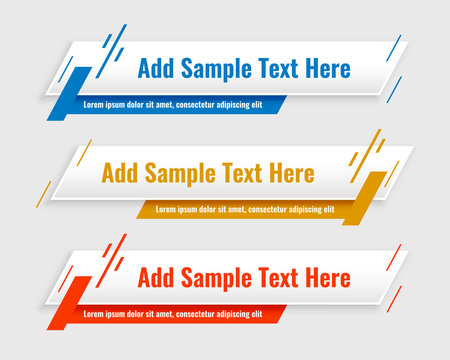 modern lower third banners template set of three