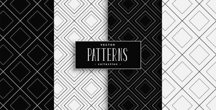 black and white diamond shapes pattern set