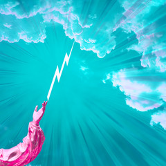 Contemporary collage. A hand of pink color against a blue sky from a finger of which lightning...