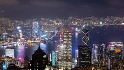 Wall Mural - Timelapse of Hong Kong city night