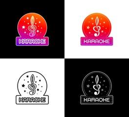 Karaoke Club Emblem. Set of logo designs on the theme of Entertainments.
