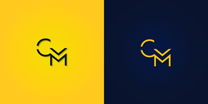 Minimalist Abstract Initial letter CM logo. This logo incorporate with abstract letter in the creative way.It will be suitable for which company or brand name start those initial.