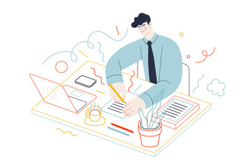 Fototapeta Business topics - tasks. Flat style modern outlined vector concept illustration. A young man wearing a tie sitting at the office desk, filling in the list of tasks. Business metaphor.
