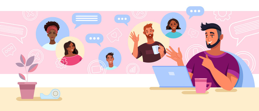 Virtual meeting and teamwork concept with smiling boss and diverse employees. Video call and conference banner with laptop, smm icons, smiling peoples' faces. Virtual meeting vector background