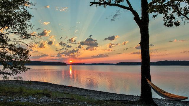 Beautiful sunrise on lake Ouachita Arkansas USA