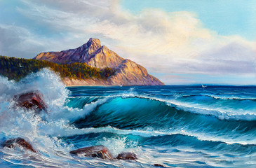Painting seascape. Sea wave.