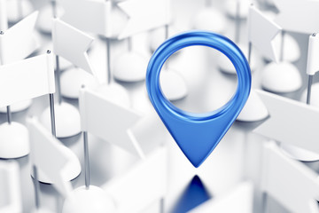 Geo-Location of a Something. Blue colored location pointer in surrounding of identical white pennants which are randomly arranged on reflective white surface. 3D rendering graphics.