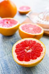 Chopped grapefruit and lemon squeezer