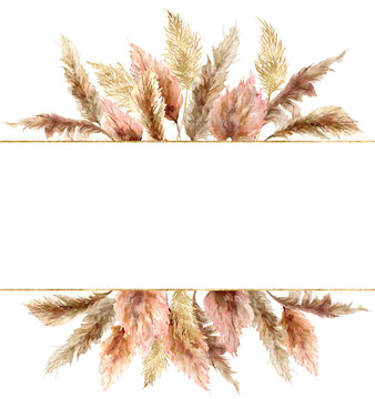 Watercolor tropical banner with dry pampas grass and gold textures. Hand painted exotic plant isolated on white background. Floral illustration for design, print, fabric or background.