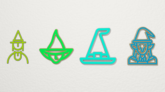 witch 4 icons set - 3D illustration for halloween and background