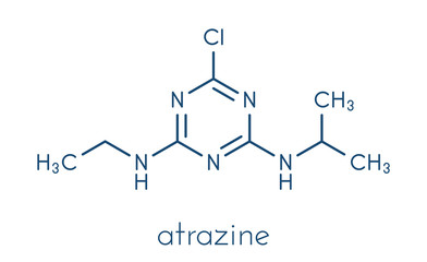 Atrazine broadleaf herbicide molecule. Skeletal formula.