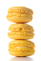 Three macaroons standing on top of each other