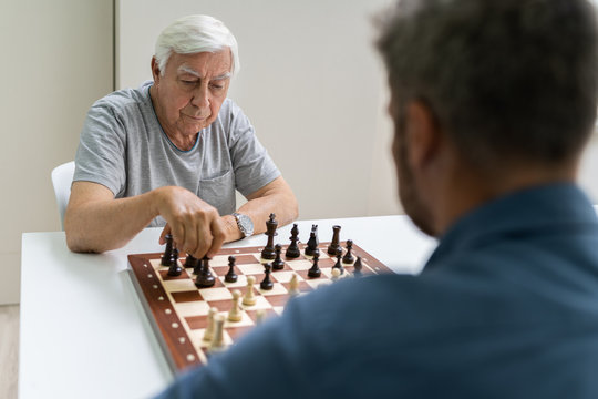 Elderly Senior Playing Chess