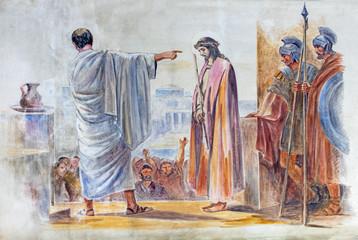 BARCELONA, SPAIN - MARCH 5, 2020: The modern fresco Jesus beforie Pilate in the atrium of church Església de la Concepció from 19. cent.