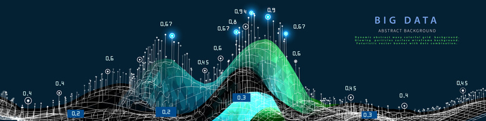 Obraz Abstract visualization polygonal wave grid algorithm analyze data. Quantum virtual cryptography concept. Blockchain. Analytics algorithms data.  Banner for bussines, science and techology. Big data. - fototapety do salonu