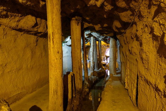 Over 2000 years old Karez Well system, ancient underground irrigation system in Turpan, Xinjiang, China. Image noisy due to high ISO.