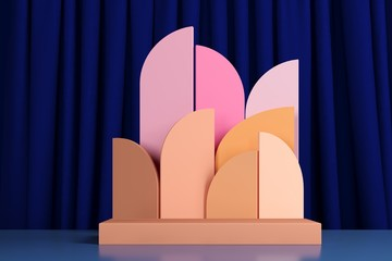 3d rendering abstract composition. Geometric shapes on dark blue background for product presentation or mockup.