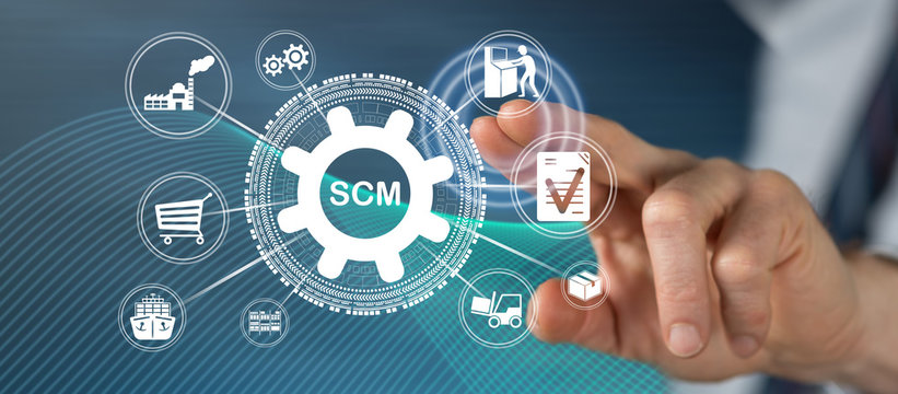 Man touching a scm concept