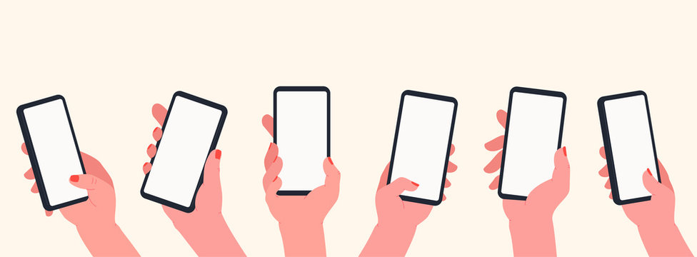 Holding phone in hands. Set of hands with blank smartphone screen. Communication and social media concept, learning, apps on touch screen device.