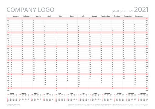 2021 year planner calendar. Vector. Wall calender template. Annual organizer. Week starts Sunday. Schedule page in English. Business illustration in minimal design. Agenda diary with 12 months
