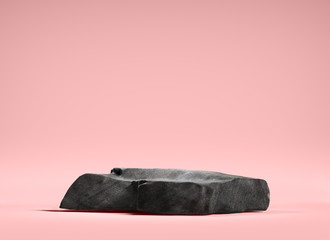 Stone podium for display product on pink background. 3d illustration