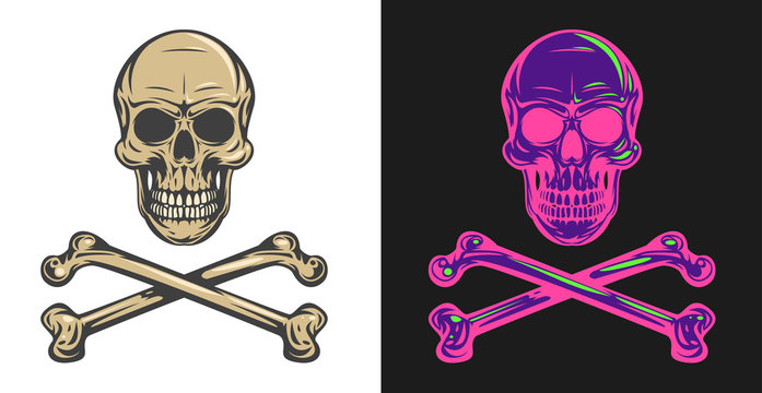 Vintage colorful human skull with crossbones isolated on clean background. Bright hand drawn design element template for emblem, print, cover, poster. Vivid vector illustration.