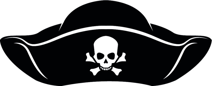 Pirate Hat with Skull and Crossbones Vector Illustration isolated