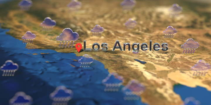 Rainy weather icons near Los Angeles city on the map, weather forecast related 3D rendering