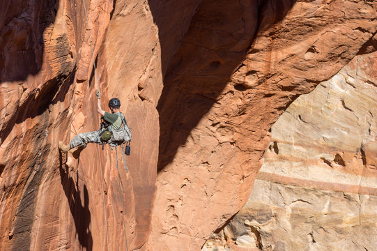 Rappelling in Capitol Reef National Park
