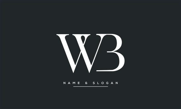 WB, BW, W, B abstract letters logo monogram