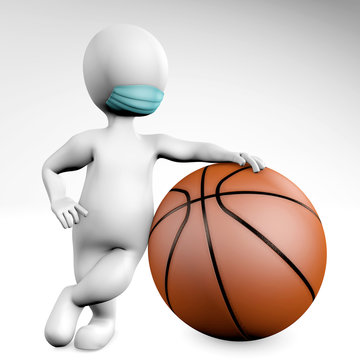Man with a mask with a ball for basketball 3d rendering