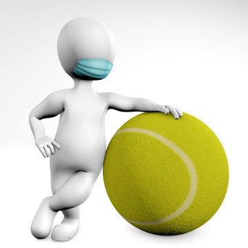 Man with a mask with a ball for tennis 3d rendering