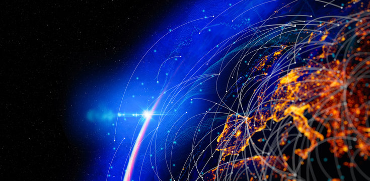 Photo of Energy Digitalization and Communication technology for internet business. Global world network and telecommunication on earth and IoT. Elements of this image furnished by NASA