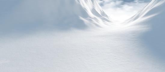Wall Murals Pale violet Winter landscape with snow 3d render