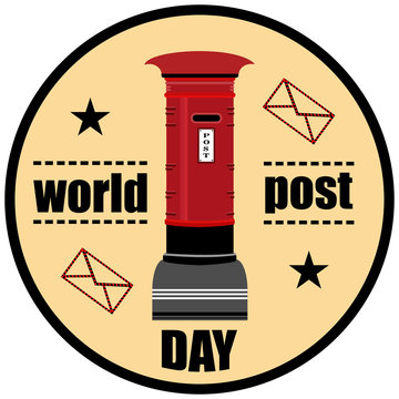 World Post Day logo with post box (mailbox) icon design. vector illustration.