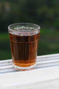 Indian Masala Chai black tea, traditional beverage with or without milk and spices Kerala India. Two cups of organic ayurvedic or herbal drink India, good in winter for immunity boosting.