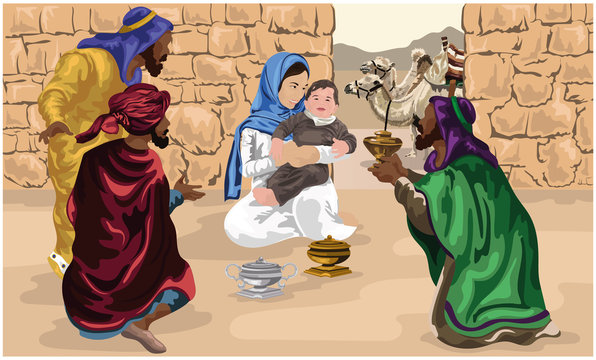 Three Wise Men Worship Baby Jesus and give gifts of gold, frankincense and myrrh vector